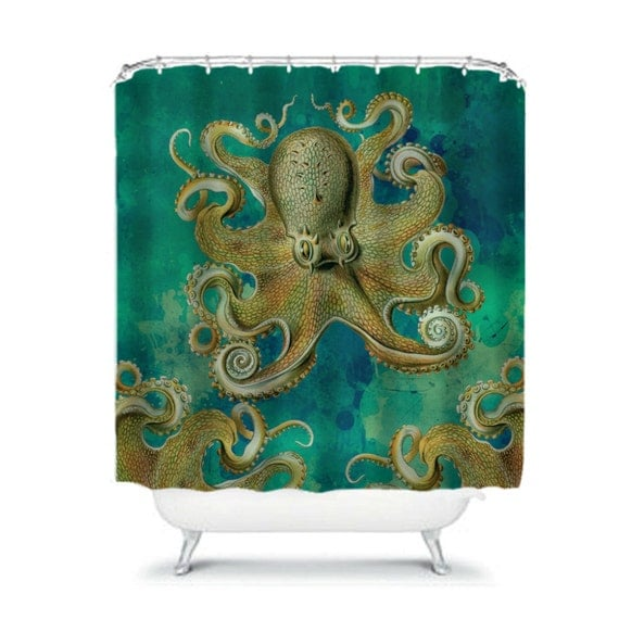 Octopus shower curtain teal tentacles octopus by folkandfunky for Tentacle shower curtain