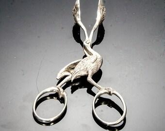 figural stork sugar tongs hallmarked