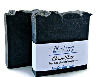 Charcoal Soap, Clean Slate Activated Charcoal Fragrance Free Soap Unscented Bamboo Charcoal Cold Process Soap Bar