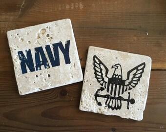 US Navy Set of Two Tumbled Stone Coasters