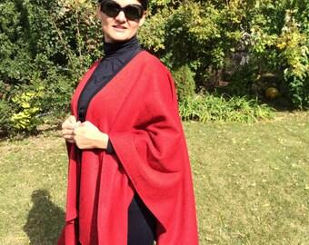 Red sweater cape/poncho, women's cape, wrap, cloak