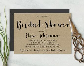 Simple Elegant Bridal Shower Invitation / Rustic Calligraphy Shower Invite / Simple Handwritten Casual Bridal Shower Invitation