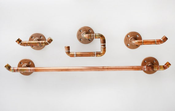 4 Piece Bathroom Accessories Set Made With Copper Pipe
