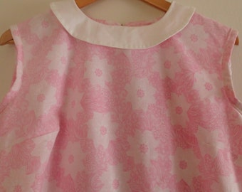 Pink 1960s mod shift dress with Peter Pan collar