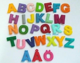 Swedish alphabet, Swedish letter, Alphabet with magnets, Stuffed Felt Alphabet, Felt Letters Colorful,