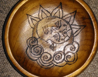 Sun and Moon heat-burnt bowl
