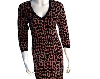 Animal Print V-Neck Sweater Dress - Size Large