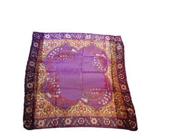 Vintage Scarf Oscar De La Renta Accessory Street 1980s Purple Gold Asian Floral Metallic India