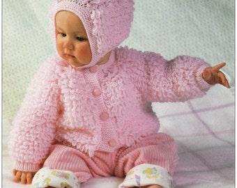 Vintage Hayfield Loopy Baby Jacket & Bonnet DK Knitting Pattern PDF