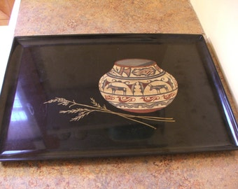 Vintage 1960s Couroc of Monterey California Plastic tray - Native America Basket and Wheat