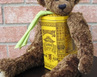 Franklin Is A Real Bear Assemblage Art Doll Java Coffee Tin Stuffed Animal OOAK by Laurie Roy