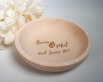 wedding ring dish personalised wedding ring holder rustic ring bowl wooden engraved ring