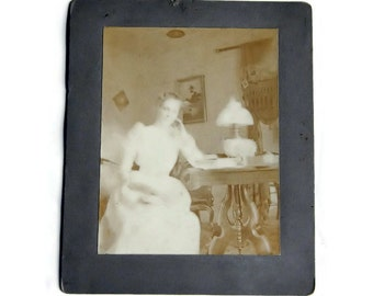 Antique Sepia Photograph of Young Woman, inside house - mounted on board - vintage, photo, original,scrapbooking, girl,residence,photography