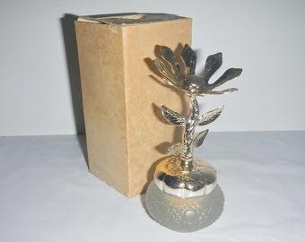 Vintage Avon Keepsake Cream Sachet - Bird of Paradise -sheer satin glass, gold accents - bottle, decanter,fragrance,collectible,jewelry tree