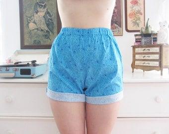 Handmade  Blue Floral Print High Waisted Shorts