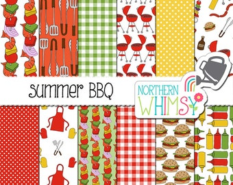 "Summer Digital Paper - ""Summer BBQ"" - barbeque scrapbook paper - hand drawn seamless patterns - yellow, red & green - commercial use"