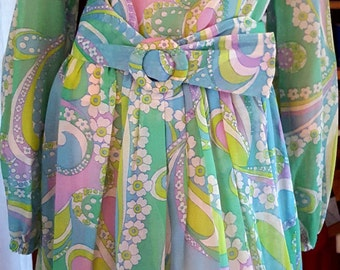 Mad Men 1960s Flowers Spring Sheer  Light Cotton  STUNNING Dress  Handmade non machine - On Clearance Now!