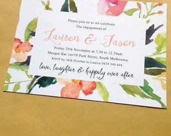 Engagement Invitation - floral watercolor design