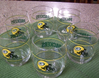Set of Six (6)  --  Roly Poly Green Bay Packers Glasses