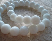 """White Milk Glass Beads. 10mm Jade White Glass Rounds. 32pc, Full 12"""" Strand.  ~USPS Standard Ship Rates from Oregon."""