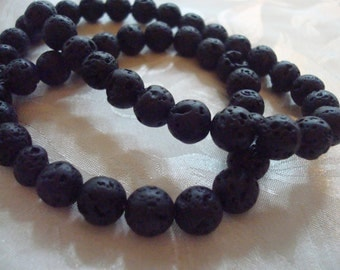 Black Lava Rock Beads.  5 Sizes!  Choose 4.5mm to 12mm. Natural Lava Beads for Unique, Organic Black Jewelry. Full Strands.  USPS Ship Rates
