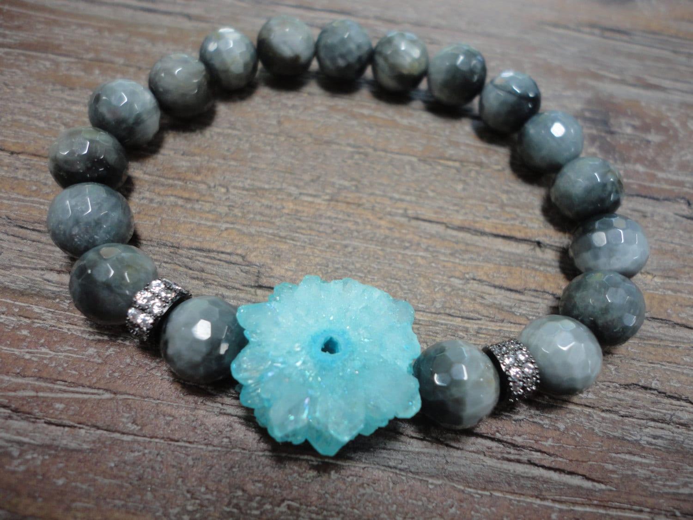 Aqua Solar Quartz Gray Hawks Eye Gemstone Stacking Bracelet/Cz's/Black/Aqua/Gray/Micro Pave/
