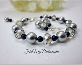Wedding pearl jewelry, Bridesmaid gift set, Bridesmaid Jewelry, Wedding Jewelry, Summer Sping Wedding Jewelry Grey navy blue Wedding jewelry