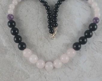 Onyx Rose quartz gemstone necklace, Rose Quartz Necklace, quartz Gemstone Necklace, pink quartz necklace, pink black beaded quartz necklace