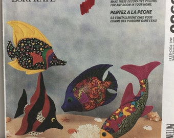 Fish Pillow,McCall's Crafts 5930 Stuffed Fish Soft Sculptured, Pillow, Tropical Fish, Goin Fishin, 1992 Sewing Pattern, Decorative Pillow