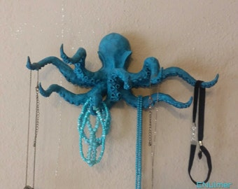 Handmade wall hanging octopus jewelry holder by enulmer