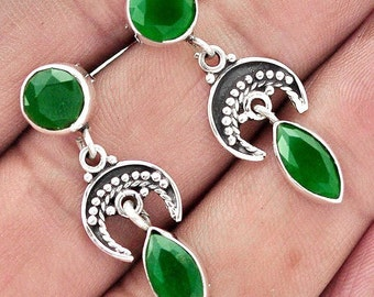 Earrings made of silver .925 with Green Quartz