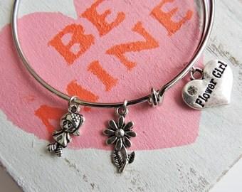 Kids Flower Girl Bangle Bracelet, Gift for Flower Girl, Bridal Party Gift