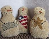 PATTERN ~ Americana Snowmen Trio - primitive needle punch PDF pattern for bowl fillers - folk art