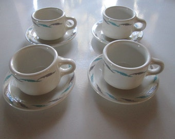 4 Vintage Homer Laughlin cups with saucers - Restaurant Ware