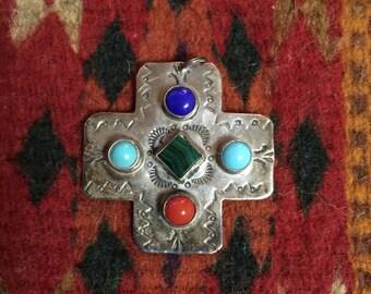 Navajo Multi Stone Silver Cross