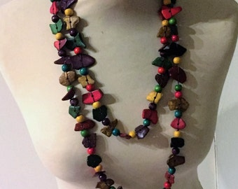 Necklace/necklace ethnic, multicolored coconut, hand made