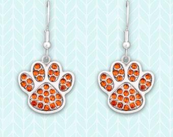 Orange Paw Print Earrings - 47921