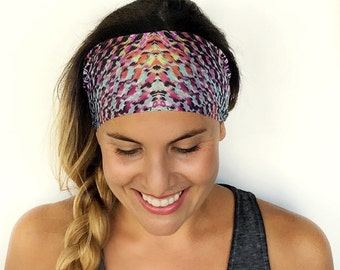 Yoga Headband - Workout Headband - Fitness Headband - Running Headband - Kinsley Print - Boho Wide Headband