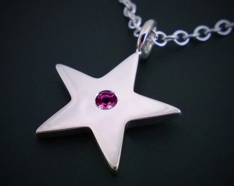 Garnet Star Necklace Pendant In Sterling Silver - Natural Garnet Star Pendant, Silver Star Pendant, Sterling Garnet Necklace, Silver Garnet