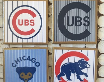COASTERS!! Chicago Cubs go cubs go coasters with gold trim