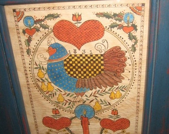 Partridge in Pear Tree Fraktur Painting by Joan Raab Internationally Known  Fraktur Artist