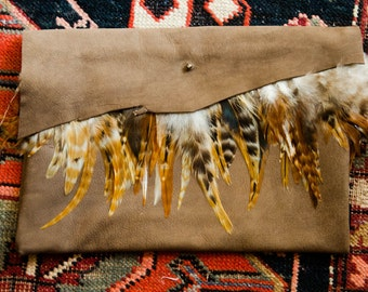 Handmade Brown Leather Evening Clutch with Feather Accents