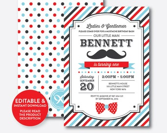Instant Download, Editable Mustache Birthday Invitation, 1st Birthday Mustache Invitation, Little Man Invitation, Stripes Mustache (SKB.27B)