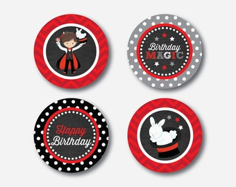 "Instant Download, Magician Cupcake Toppers, Magic Cupcake Toppers, Party Circle, 2"" Circles, Magic Toppers, Magic Party Printable (CKB.151)"