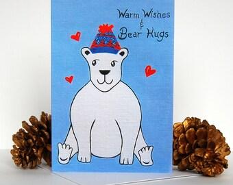 SALE 50% OFF Polar Bear Christmas card, Polar Bear holiday card, Cute Bear Christmas card, Bear print, Warm Wishes and Bear hugs, Xmas card