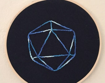 Icosahedron D20 embroidery hoop art
