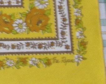 Vintage Table Napkin Set, The Ryans, 1970s Mustard Yellow Gold
