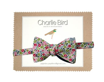 "Flowered Charlie Bird bow tie on Liberty ""Fairford"""