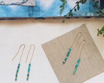 Turquoise Threader Earrings / Gold and Turquoise Earrings / Turquoise Chain Earrings / Long Dangling Earrings / 14K Gold Filled Earrings