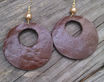 Fall Back Leather Earrings, Leather Jewelry, Brown Earrings, Leather Earrings